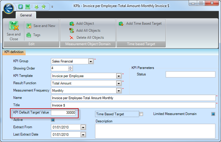 How to set a Target for a KPI? | TECRM Online Help